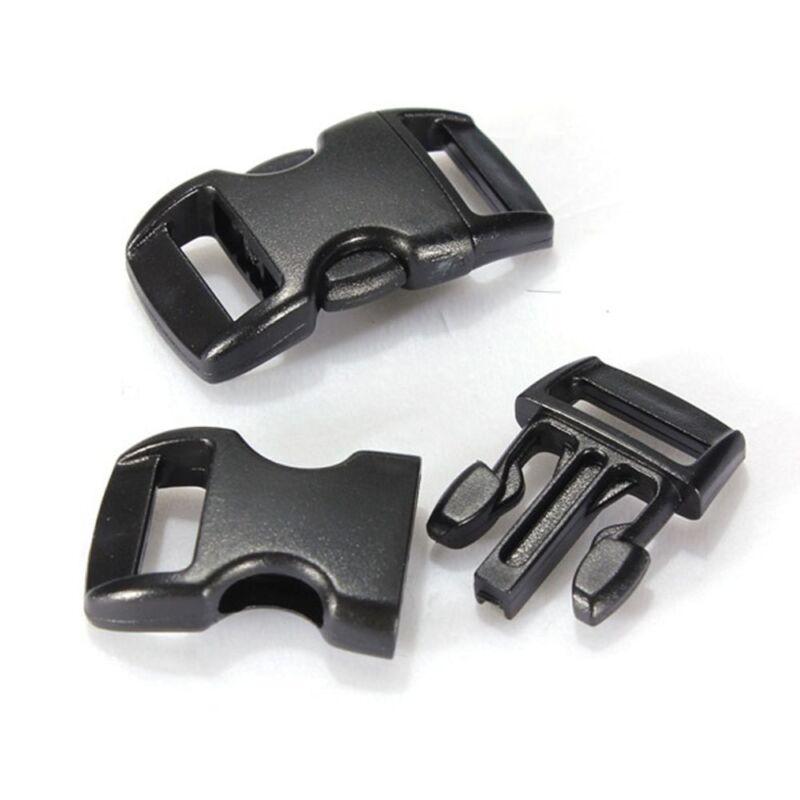 Plastic Black Curved Buckle w//Lock for Paracord Bracelet Side Release Buckles