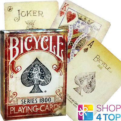 BICYCLE 1800 VINTAGE ELLUSIONIST MARKED PLAYING CARDS DECK RED MAGIC TRICKS (Vintage Bicycle Playing Cards)