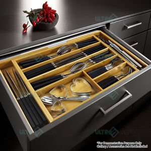 Expandable Bamboo Cutlery Tray Utensil Drawer Kitchen Organizer Insert Divider