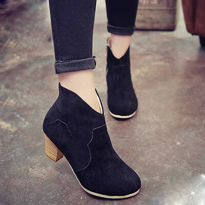 Women Short Cylinder Boots High Heels Boots Shoes Martin Boots Ankle Boots New 5