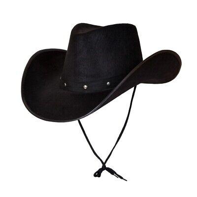 Schwarz Texas Cowboy Hut Herren Damen Wilder Westen Kostüm Cowboys