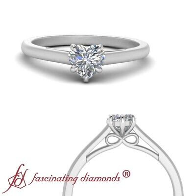 1/2 Carat Single Heart Shaped Diamond Bow Pattern 18K White Gold Engagement Ring