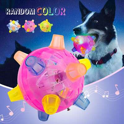 FLASHING Pet Dog Ball for Games Light-Up LED Play Jumping Joggle Crazy Chew Toys