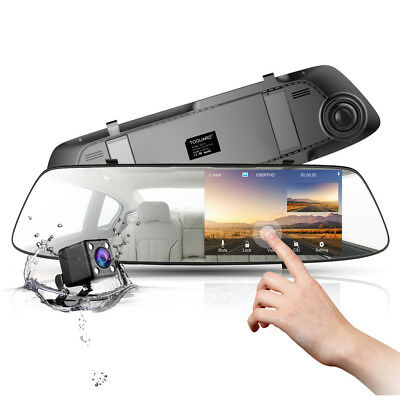 "Toguard 4.3"" Car Camera Touch Screen Mirror Rearview Dashcam FHD 1080P Dual Lens"