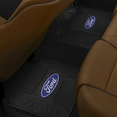 (2) Rear Floor Mats FORD OEM FACTORY LOGO Rubber Liner Black Slush Weather Mat