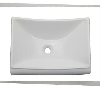 Decolav Counter Lavatory Sink - Decolav 1446-CWH Above-Counter Rectangular Lavatory Vessel Sink in White LOCAL