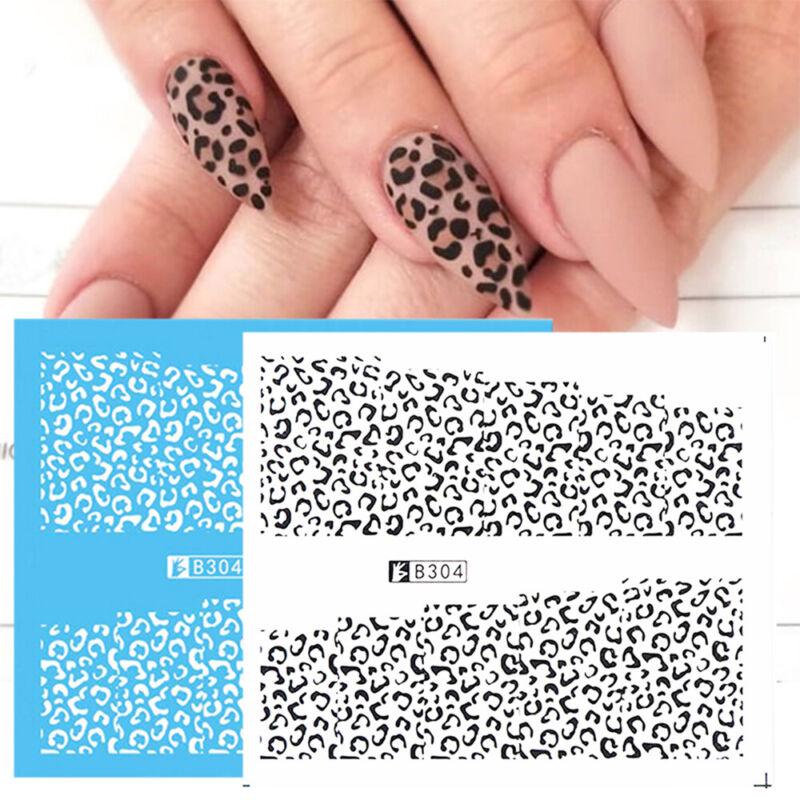 Black White Design Water Transfer Paper Nail Art Sticker Dec