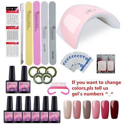 Complete Starter Kit Nail Gel Polish Set 36W UV LED Lamp 6 Colors DIY Manicure