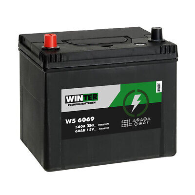 Winter Asia Autobatterie 12V 60AH Starterbatterie Plus Pol Links 560A/EN