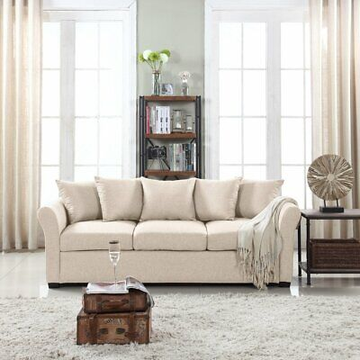 Beige Couch for Living Room Modern Light Beige Sofa with Rem