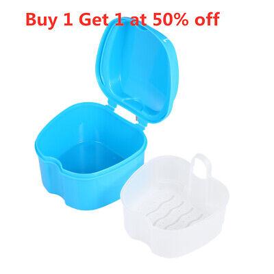 Denture Bath Box Case Dental False Teeth Cleaning Container Appliance Tray Blue