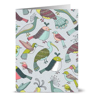 24 Note Cards - Bird Bath - Gray Envs