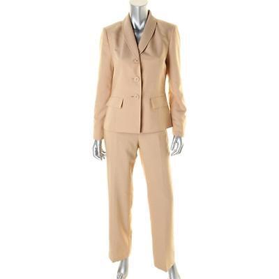 Le Suit Tan Beige 2pc Solid Long Sleeves Jacket & Pant Suit Set Outfit - NEW