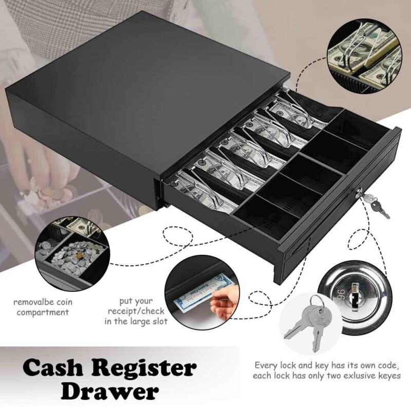 Money Box 5Bill 5Coin Cash Register Drawer Tray Epson/Star POS Machine RJ11/RJ12