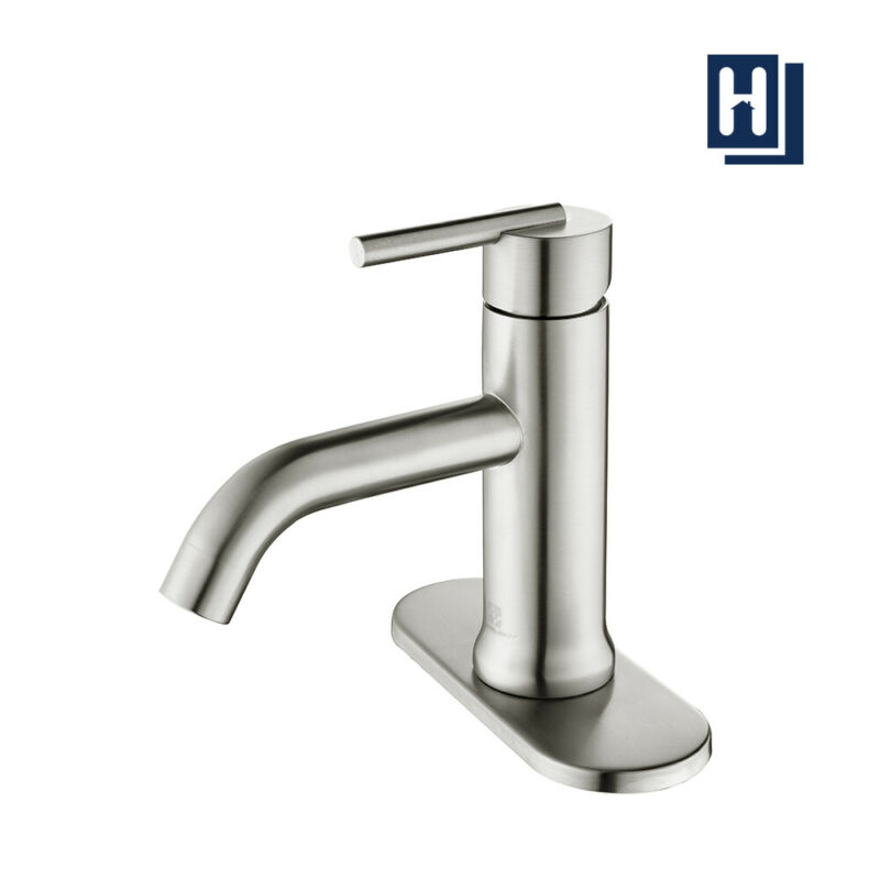Bathroom Sink Faucet Mixer Tap Single Handle Hole w/ Pop Up Drain Brushed Nickel