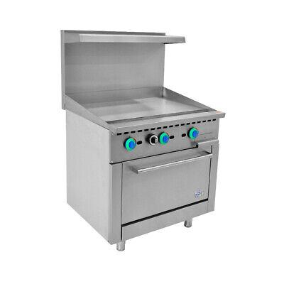 36 Commercial Gas Range Manual Griddle Range With 1 Oven- 123000 Btu