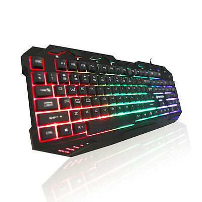 Backlight Gaming Professional Mechanical Keyboard Blue Switches Metal Wired USB