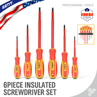 Insulated Slotted Phillips Electricians Screwdrivers Set Magnetic Tool 6 Piece
