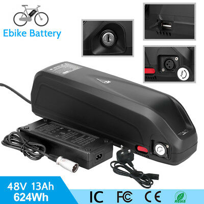 48V 13AH E-Bike Battery Electric Bicycle Li-ion Pack Lockable w/USB Charge Port