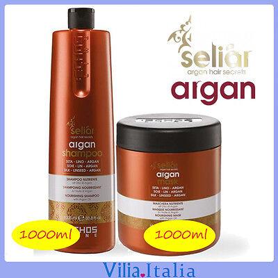 Kit per capelli Nutriente - Shampoo 1000ml + Maschera 1000ml Seliar Argan