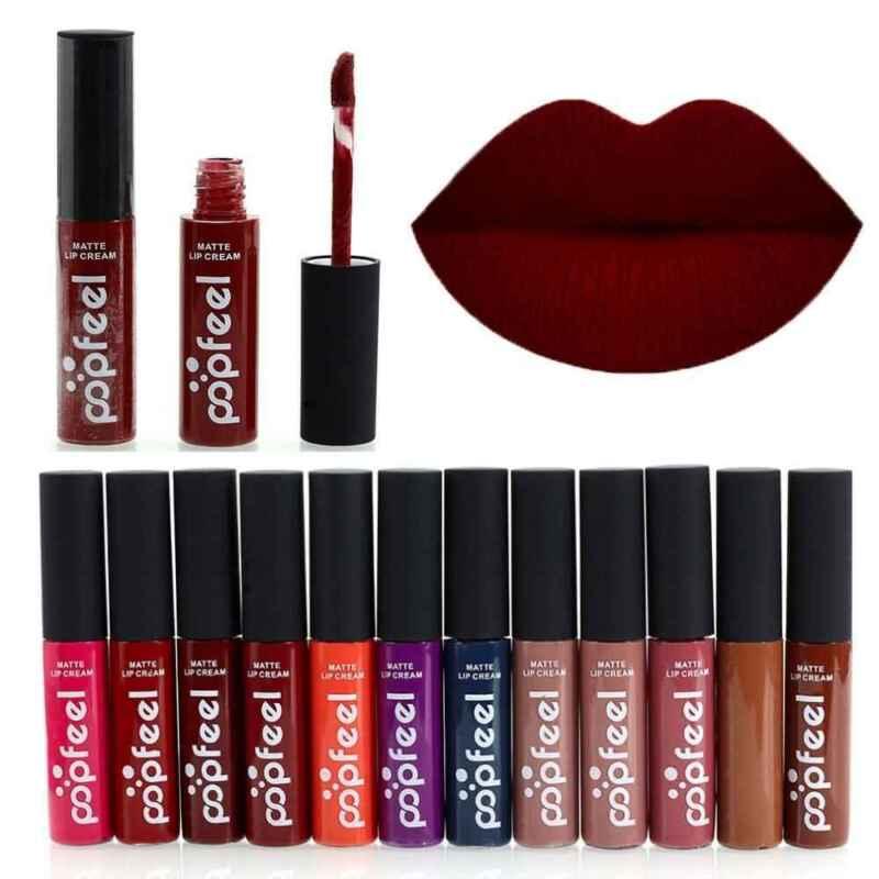 12 Farben Matt Wasserfest Langanhaltend Flüssige Lippenstift