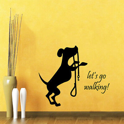 Dog Wall Decal Quote Let's Go Walking Pet Shop Vinyl Sticker Bedroom Decor kk736