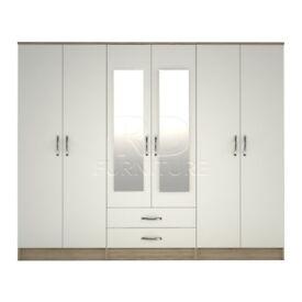 Beatrice wardrobe 4 you, 2,28m wide 6 door oak and white wardrobe