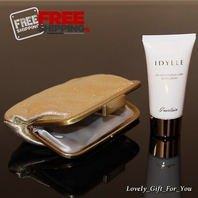New Guerlain Idylle Body Lotion 30ml / 1oz & Small Gold Pouch for (Lotion Pocket)
