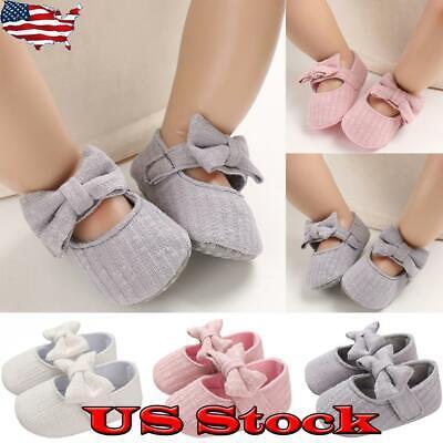 Newborn Baby Girl Princess Shoes Soft Sole Kid Casual Crib Pram Flats Bowknot US