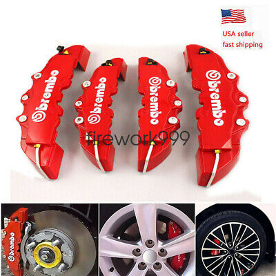 4X Brembo 3D Style Car Universal Disc Brake Caliper Covers Front & Rear Kits RED