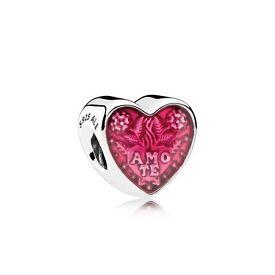 PANDORA LATIN LOVE HEART CHARM Transparent Cerise Enamel RRP £35.00