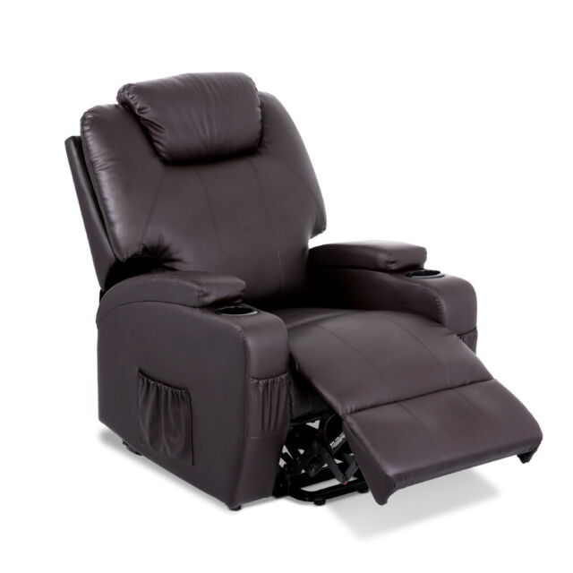 Loomie Brown Pu Leather Electric Recliner Heating Massage Chair