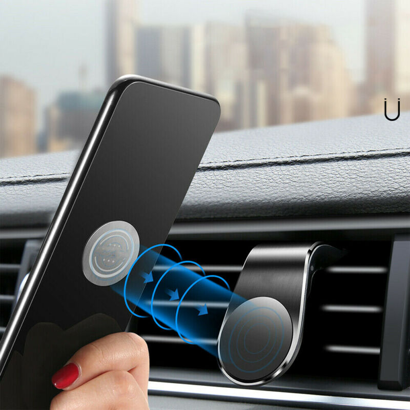 Car Parts - Magnetic Car Phone Holder Air Vent Mount L Shape Clip Stand Universal Auto Parts