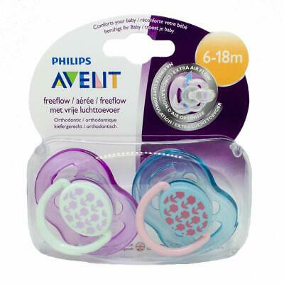 New Philips Avent Fashion Flower Free Flow Soother 6-18M Twi