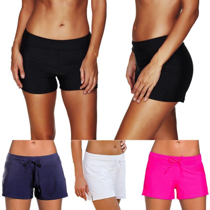 Damen Badehose Boxershorts Bademode Badeshorts Liniert Bikini Hotpants Schwarz
