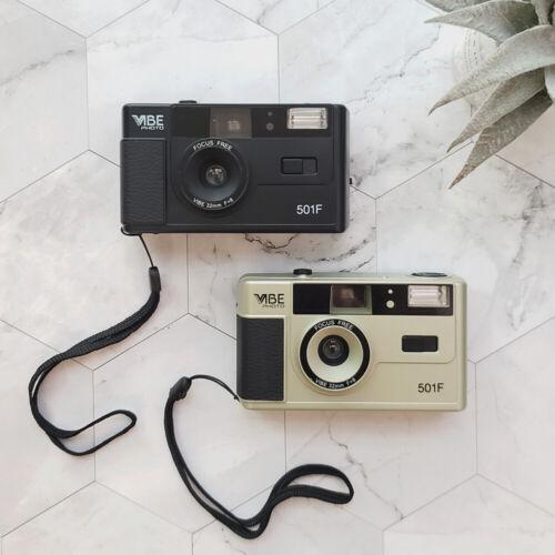 NEW Vibe Photo 501F Vintage 35mm Reusable Film Camera Black Gold Green Pink US
