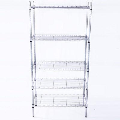5 Tier Layer Garage Wire Steel Rack Shelving Steel Home HeavyDuty Storage Shelf