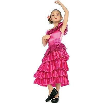 Girls' Pink Spanish Princess Dancer Costume Child Medium 8-10](Spanish Costumes For Girls)