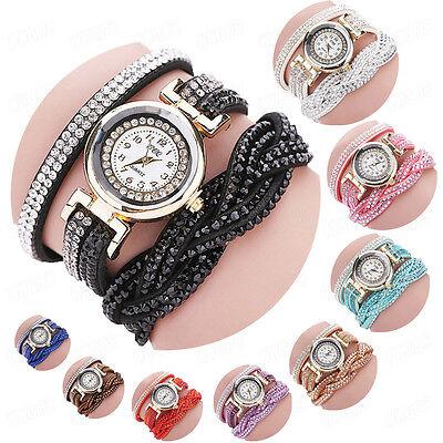 - Fashion Women Bracelet Watch Crystal Leather Wrap Around Dress Analog WristWatch