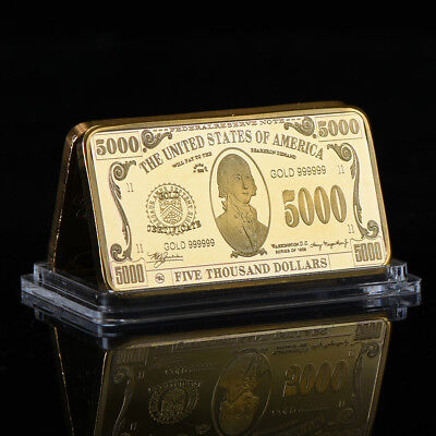 WR $5000 Dollar Bill Novelty US Money Note Gold Ingot Bar 50mm Birthday Present
