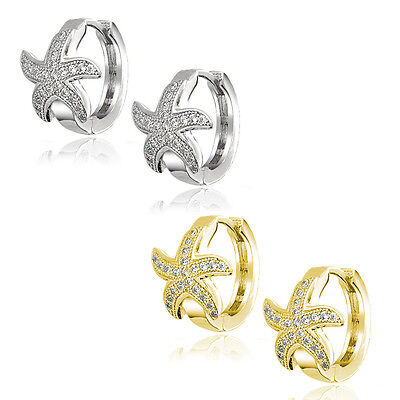 Nautical Starfish Huggie Hoop Earrings Micro Pave Sapphire 14k Yellow White Gold