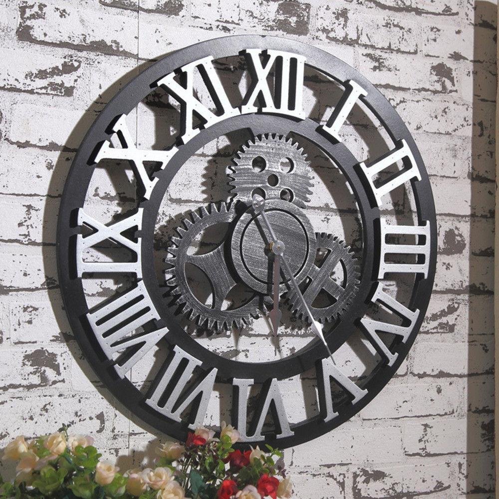 Large Wall Clock Antique 3D Gear Retro Roman Numerals Silent