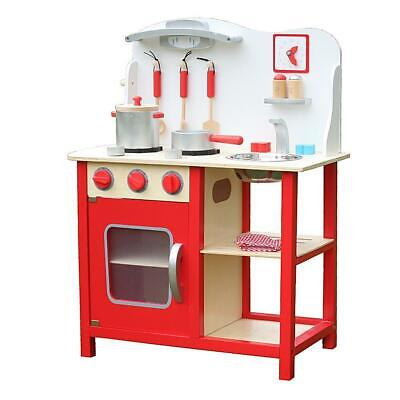 Kitchen Play Set For Girls Pretend Play Wooden Cooking Toy Set Toddler Kids Red