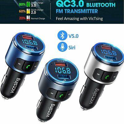 VicTsing Wireless Bluetooth 5.0 Car FM Transmitter MP3 Adapter QC3.0 USB Charger