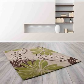 The Ultimate Rug Company Floral Art Rug Collection: Colour Ohelo Green.