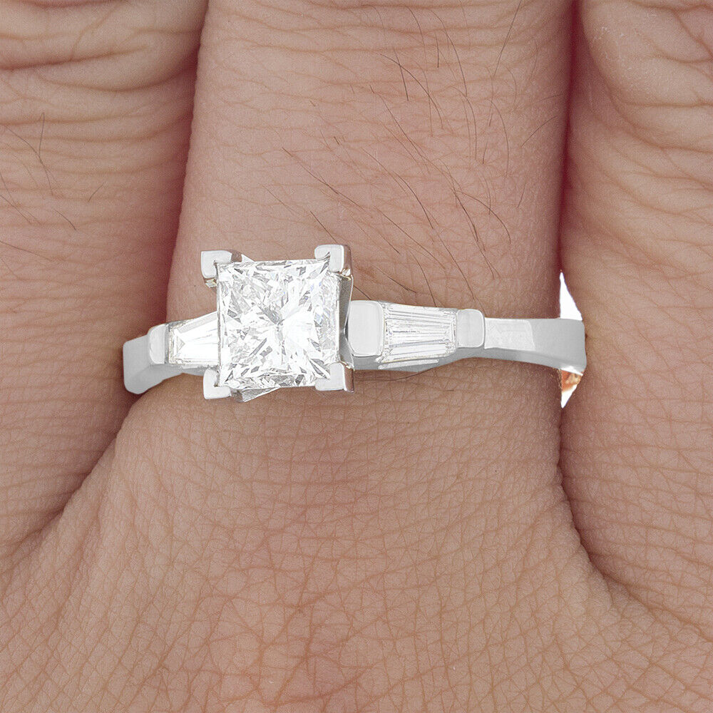GIA Certified Diamond Three Stone Engagement Ring 1.10 CT Princess & Baguette