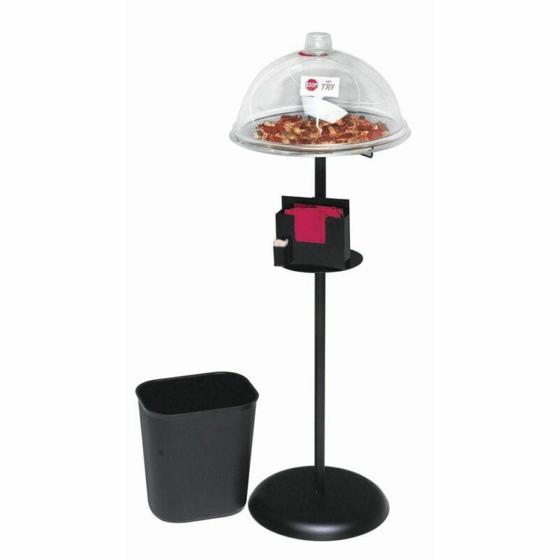 """HUBERT® Black Powder-Coated Metal Dry Sampling Food Display - 15""""Dia x 45""""H"""