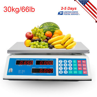 Digital Deli Meat Food Computing Retail Price Scale 66lb Fruit Produce Counting