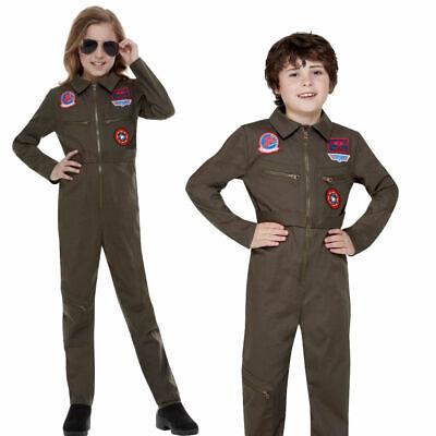 Kinder Offiziell Top Gun Kostüm Flug Anzug Pilot Aviator Jungen Mädchen Kostüm - Aviator Kostüm Mädchen