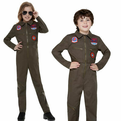 Kinder Offiziell Top Gun Kostüm Flug Anzug Pilot - Kinder Flug Anzug